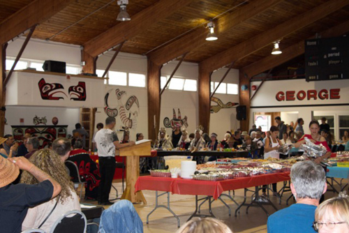 Speeches at the potlatch feast after the totem pole raising